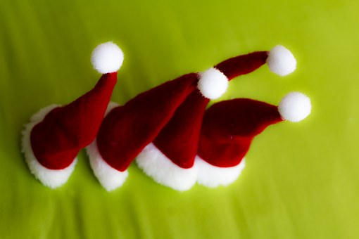 Christmas, Hats, Nicholas, Red, White, Green, Fabric