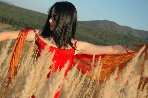 Girl, Woman, Female, Nature, Red Dress, Field, Young