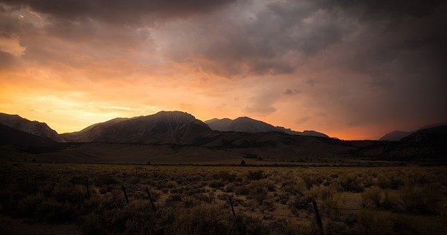 Sunset, Mountains, Sunlight, Fire, Brushfire, Sunrise