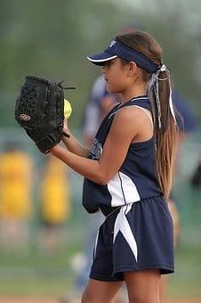 Softball, Player, Pitcher, Girl, Female, Youth, Game