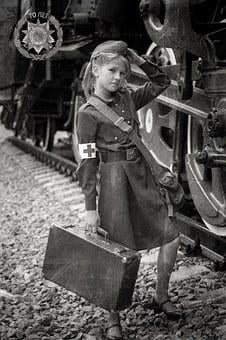 Girl, Military Uniform, Victory, May 9, Train, Suitcase
