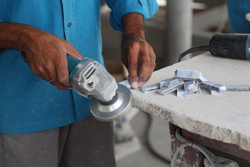 Marble, Granite, Grinding, Work, Man, Hands, Polish