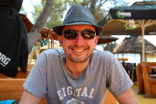 Happy, Man, Digital Nomad, Hat, Sunglasses, Holiday