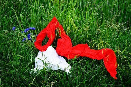 Scarf, Red, White, Clothing, Summer, Idyll