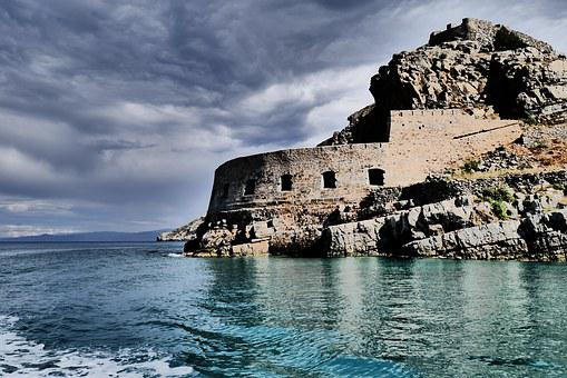 Fort, Island, Greece, Sea, Water, Cloudy, Clouds