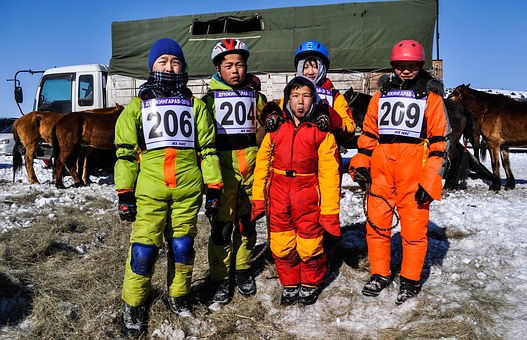 Kids, Jokey, Horse Race, Race, Mongolia, Traditional