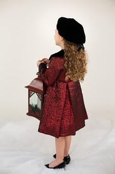 Little Girl, Red Coat, Lantern, Winter, Christmas, Hat