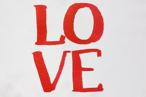 Calligraphy, Letters, Love, Paint, Watercolor