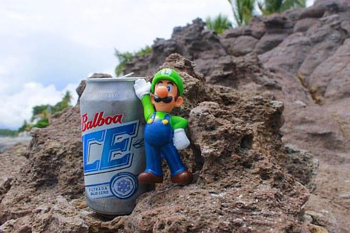 Luigy, Beer, Stones, Snowman, Super Mario, Toy