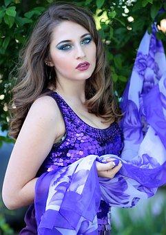 Girl, Dress, Mov, Blonde, Blue Eyes, Beauty, Scarf
