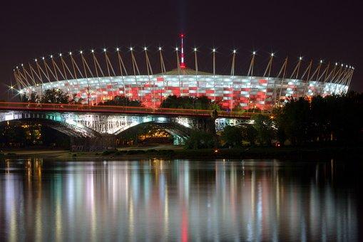 Stadion, National, Warsaw, Football, Sport, Bridge