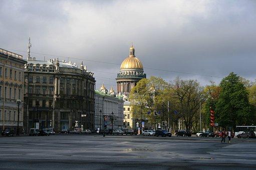 Plaza, Square, Rain, Public Place, Street, Buildings