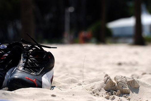 Shoes, Sand, Beach, Puma, Sneaker, Holiday