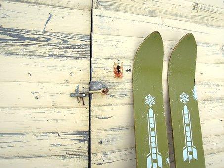 Retro, Vintage, Skis, Old, Eräsukset, Wide Skis