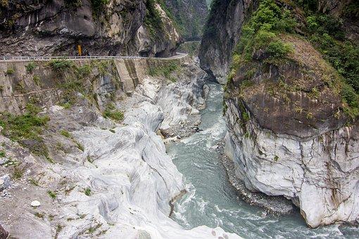 Taiwan, Taroko, Road, Mountain, River, Valley, Gorge