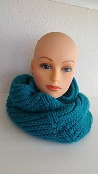 Blue Infinity Knit Scarf, Scarf, Winter Wear