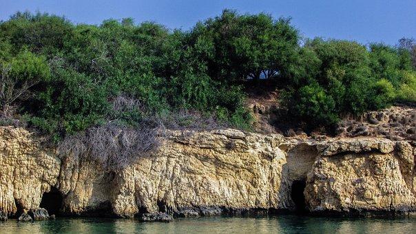 Sea Caves, Beach, Cliff, Geology, Malamas Beach