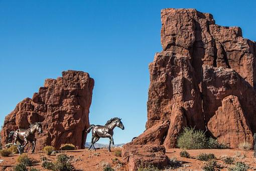 Bronze, Monument, St George, Utah, Sandstone, Orange