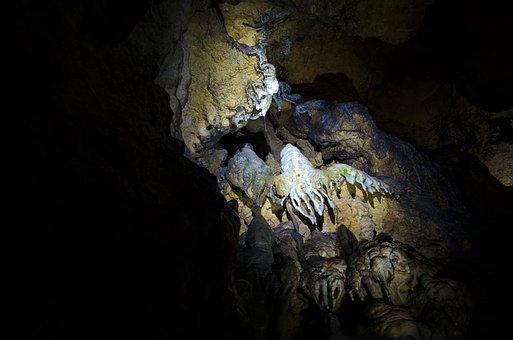 Stalactite, Cave, Stalactite Cave, Black, Blue, Beige