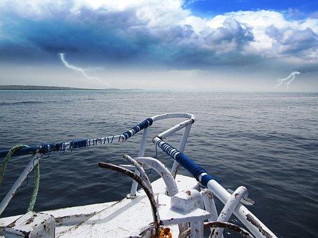 Storm, Sea, Lightning, Ship, Adventure, Ominous