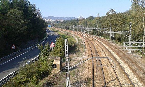 Oviedo, Asturias, Spain, Train, Railway, The Road