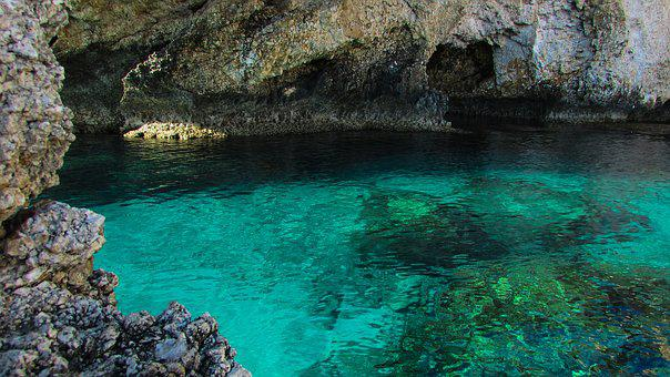 Sea Cave, Sea, Turquoise, Water, Clear, Crystal