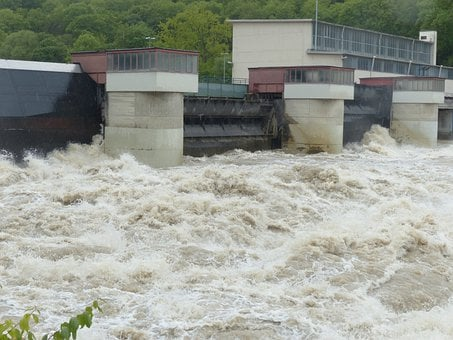 Lock, Weir, High Water, Dam, Barrage, Power Plant