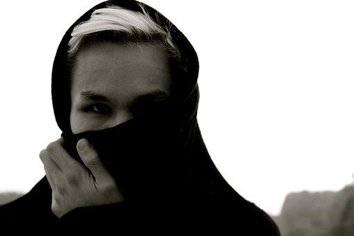 Woman, Hidden, Hiding, Scarf, Black, Portrait, Face