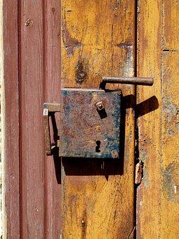 Door, Latch, Lock, Old, Wood, Entrance, Metal, Wooden