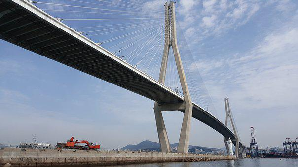 Korea, Busan, Sea, Zero, Beach, Busan Port Bridge