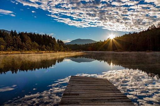 Austria, Leech Lake, Carinthia, Sunrise, Landscape