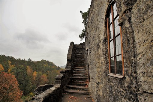 Stairs, Stone, Carved, Rock, Castle, Monk, Dwelling