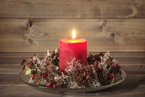 Advent, Christmas, Candle, Burn, Dried Flowers