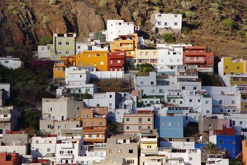 Tenerife, Island, Houses, City, Mountainside