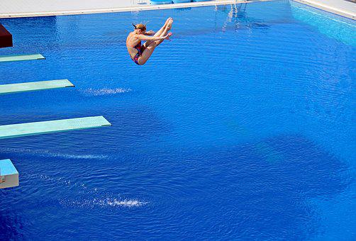 Sport, Games, Jumping Into Water, Water, Pool
