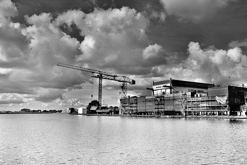 Hdr, Shipyard, Contrast, Reflection, Water, River