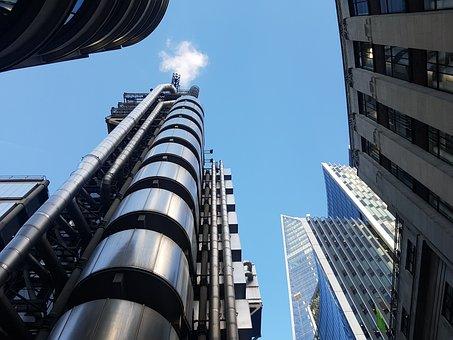 London, City, Skyline, Skyscraper, Blue, Sky, Lloyds