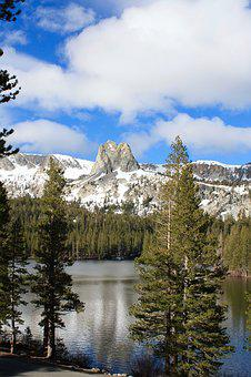 Mammoth Lake, Lake, Trees, California, Nature