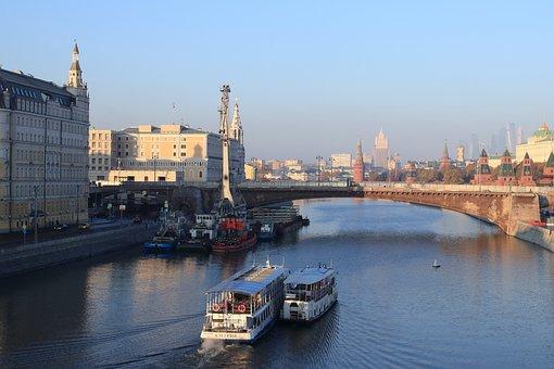 River, Ship, Navigation, Bridge, Moscow, Quay