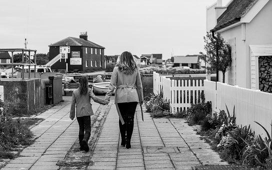 Mum, Daughter, Walking, Family, Mother, Child, Girl