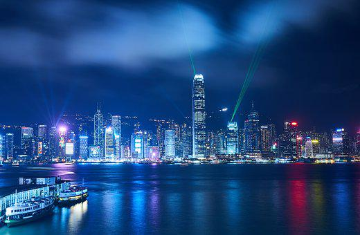 Hong Kong, China, Night, City, Architecture