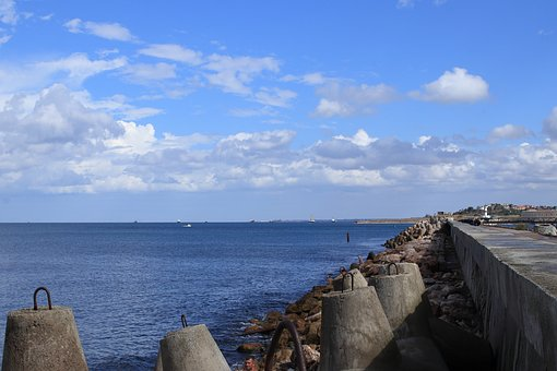 Fencing, They Say, Sea, Barrier, Sky, Clouds