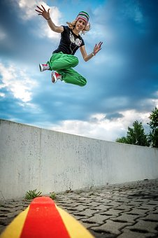 Fun, Jump, Happy, Joy, Girl, Sport, Active, Skateboard