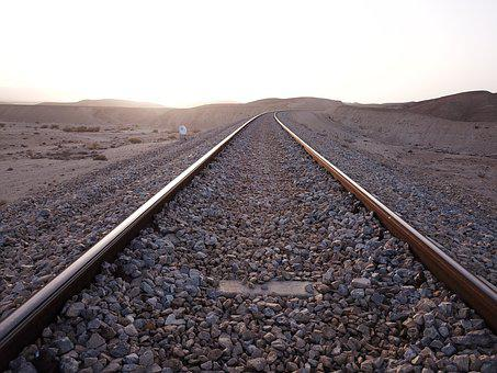 Railroad, Desert, Israel, Sunset, Sunset At The Desert