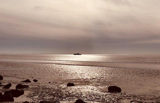 North Sea, Watts, Wadden Sea, Landscape, Vacations, Sky
