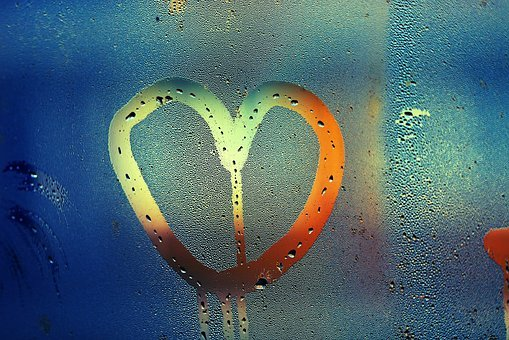 Heart, Condensation, Pane, Window, Water Drops, Water