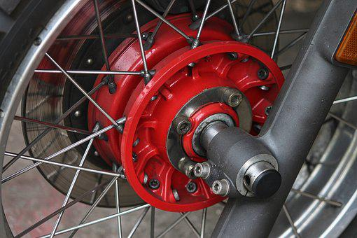 Wheel, Front Wheel, Motorcycle, Fork, Spokes, Brake