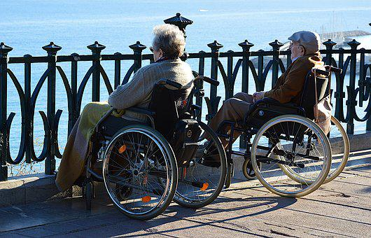 Couple, Handicap, Wheelchair, Elderly Person