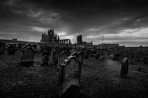 Whitby Abbey, Yorkshire, Graveyard, Churchyard, Moody