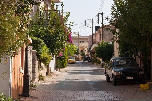 Greece, Crete, Archanes, Village, Away, Road, Alley